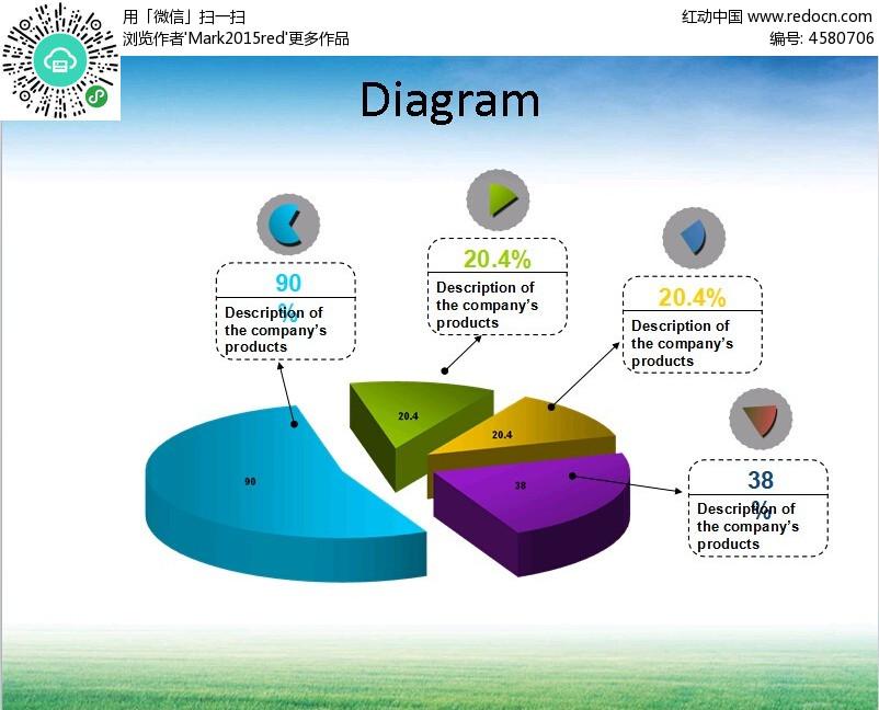 圆盘立体分割图表模块ppt