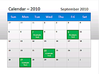 2010年9月彩色日历PPT