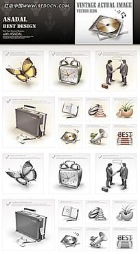 蝴蝶和闹钟等网页图标