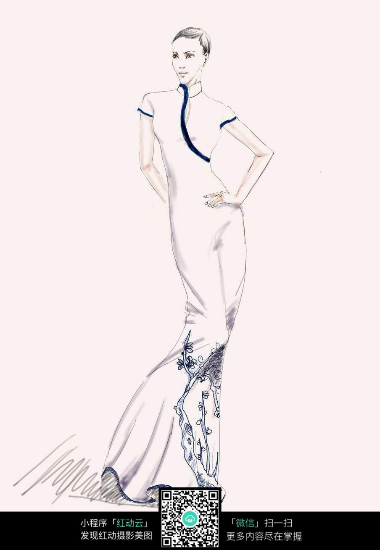 旗袍手绘漫画人物
