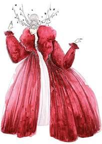 红色冬季服装手稿
