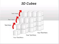3D阶梯状方形模块图表PPT模板