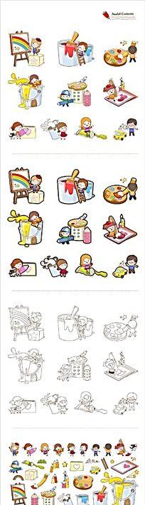 绘画类卡通网页图标