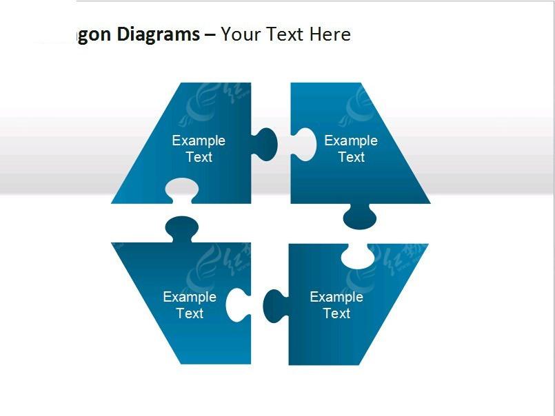 蓝色拼图模块图表ppt模板
