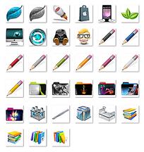 铅笔和文件夹封面png图标设计图