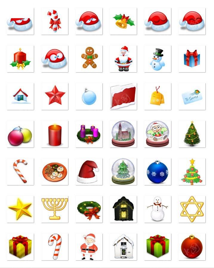 圣诞节小图标png格式设计模板图片