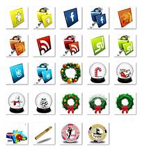 圣诞节圆形网页小图标设计图模板