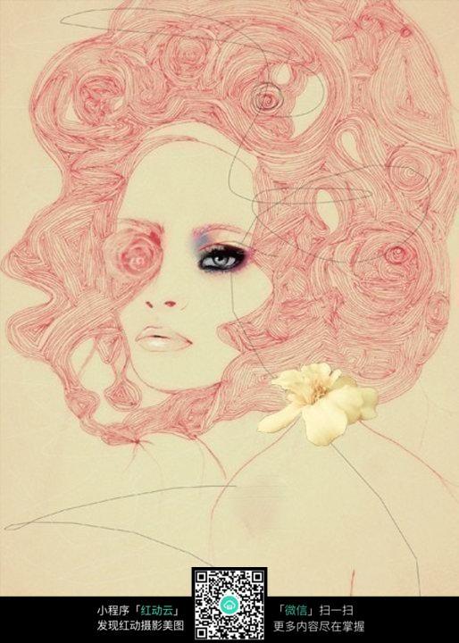 长发亮眼美女手绘设计图