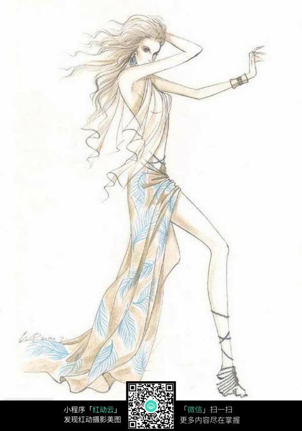 长裙手绘图片简单
