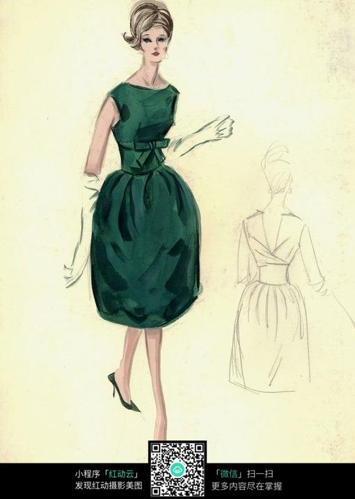 穿墨绿色礼服的女人插画绘画