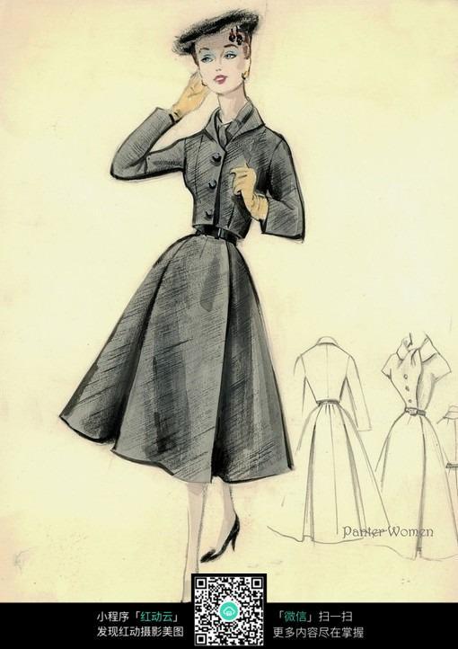 典雅美女服装设计手绘图