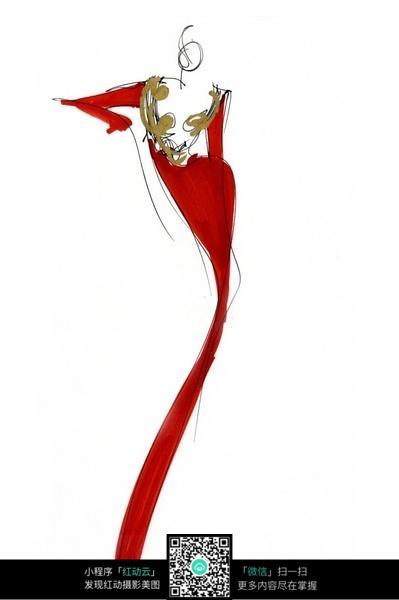 红色裙装设计手绘图