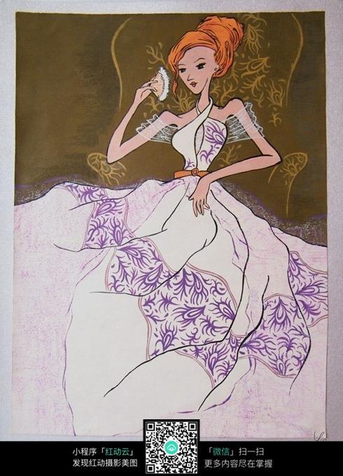 花纹长裙手绘美女图