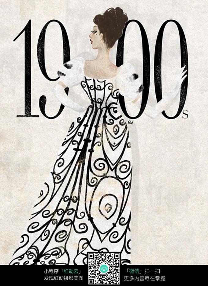 欧美风格服装设计手绘效果图