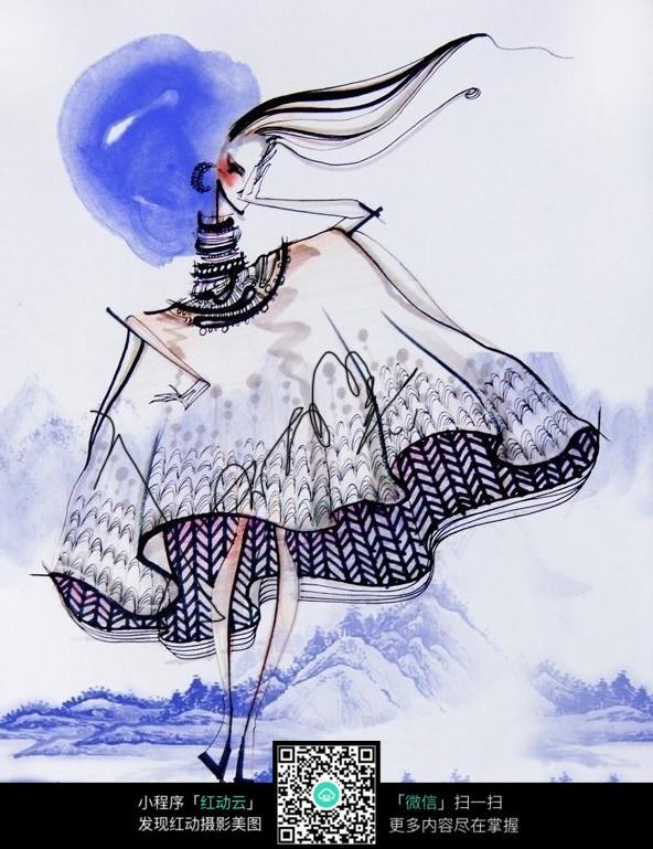 手绘插画穿着裙子的女孩