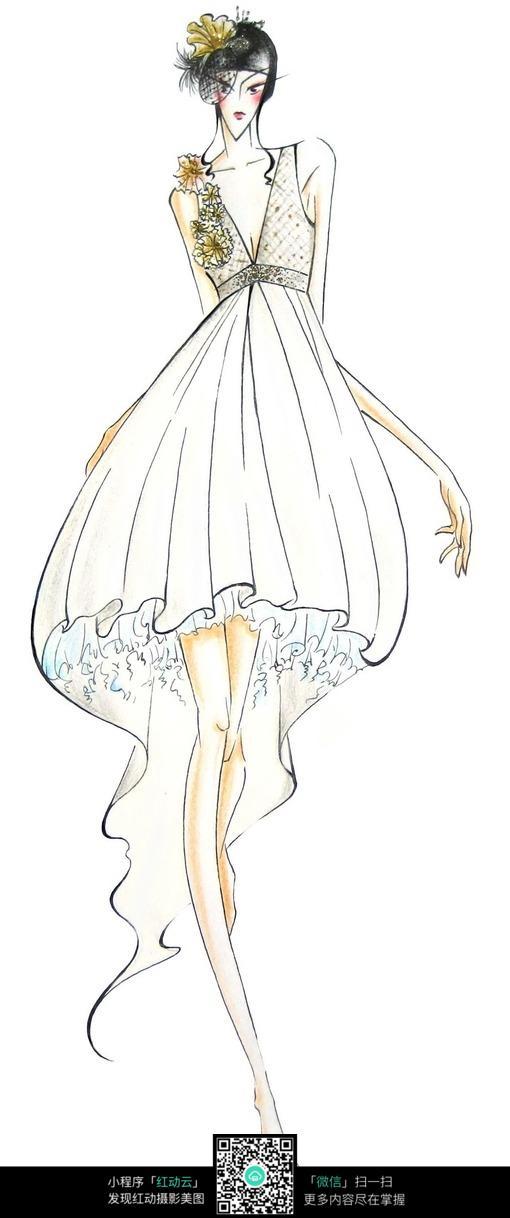 白色连衣裙服装设计手绘