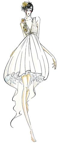 白色连衣裙服装设计手绘效果图