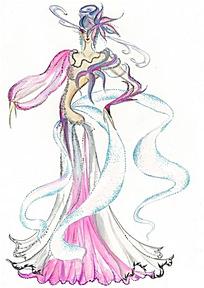 彩色丝带服装设计插画