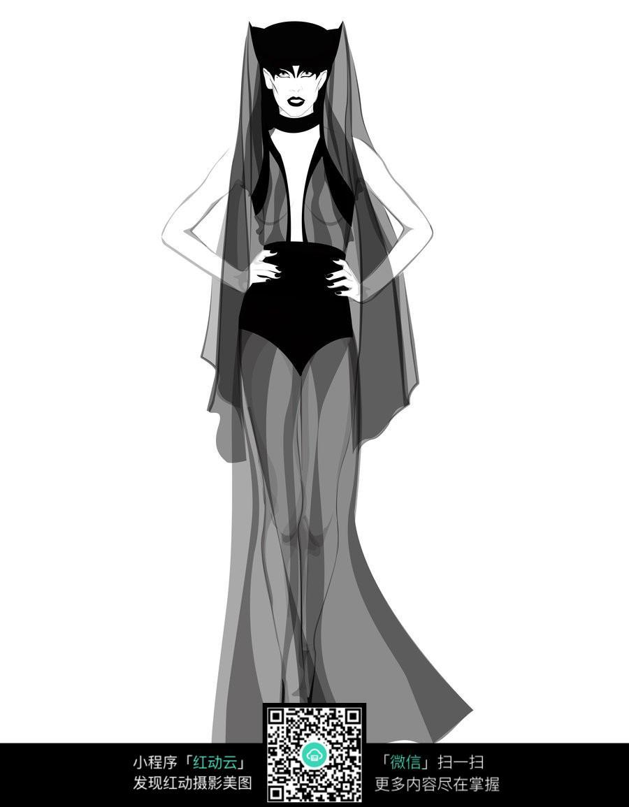 黑色透视装服装设计手绘效果图
