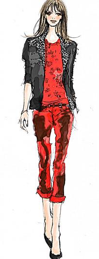 红色裤装时尚设计手绘效果图