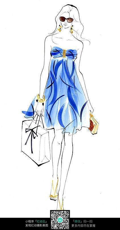 蓝色长裙服装设计手绘效果图