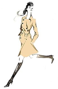 职业女性服装设计手绘插画