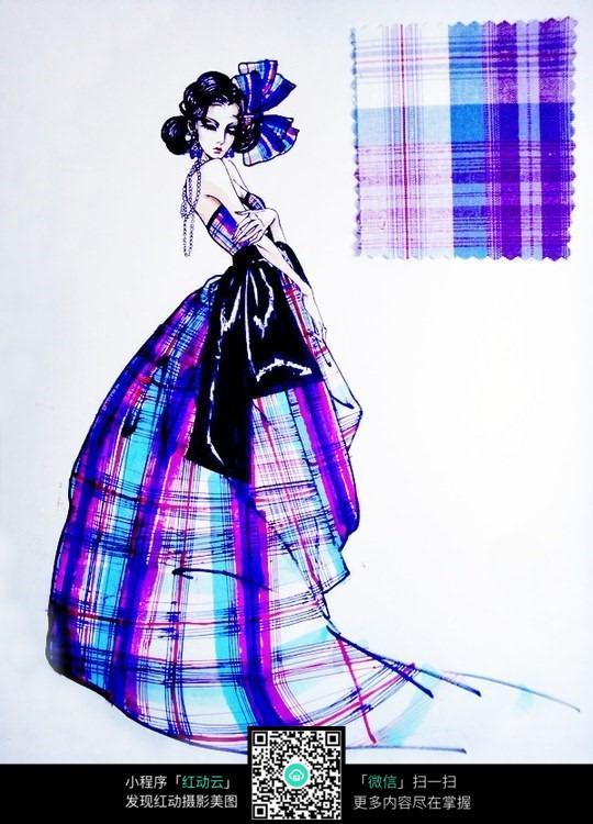 彩格服装设计手绘效果图