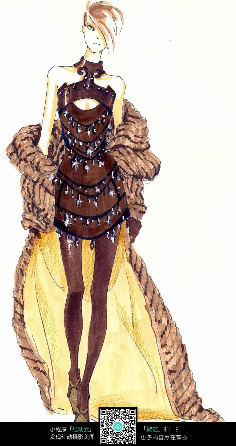 手绘 彩绘 时装画 彩绘时装服饰
