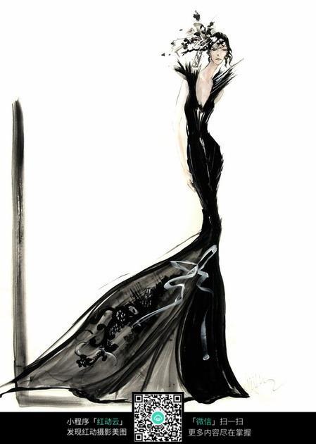 创意卡通美女服装设计手稿手绘效果图