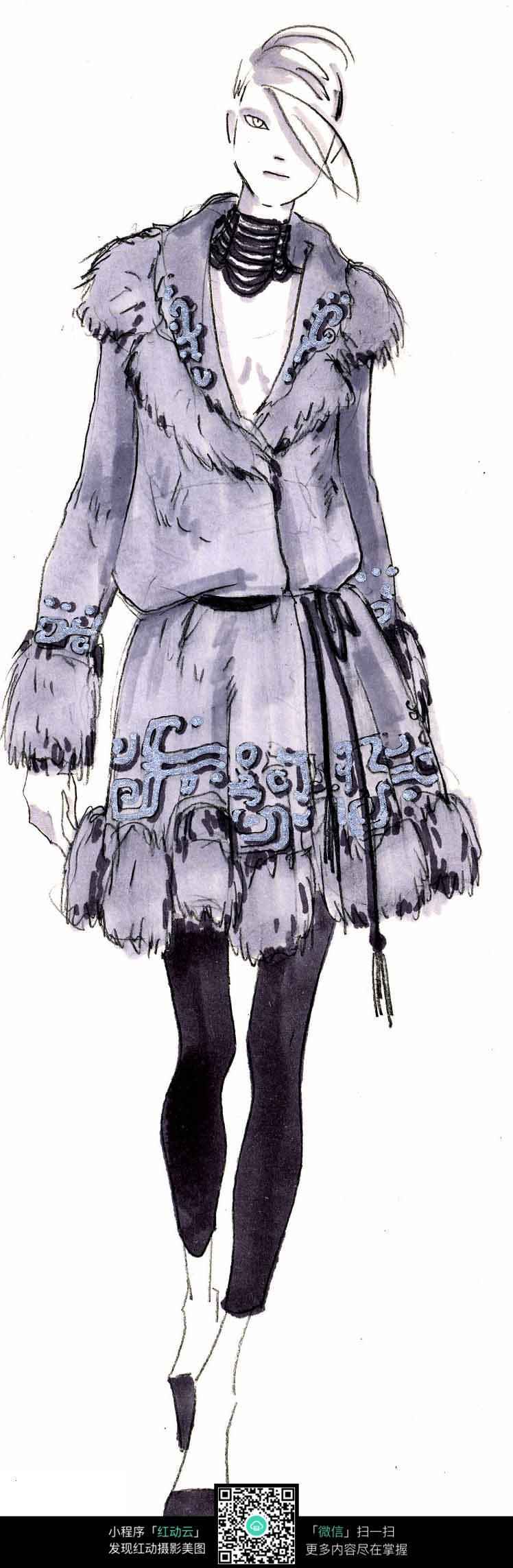 大衣时装设计手绘