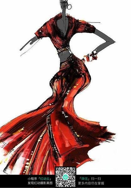 红色长裙服装设计手绘效果图图片