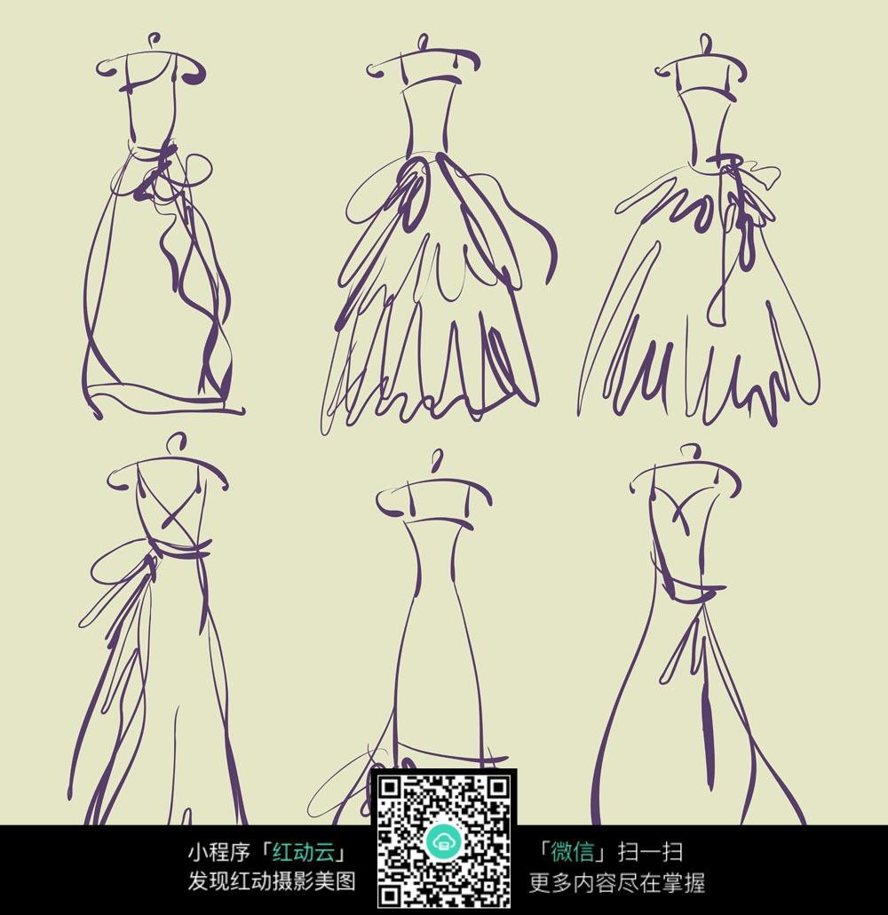 简约礼服手稿 手绘服装设计图