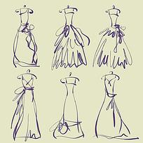 简约礼服线条手稿