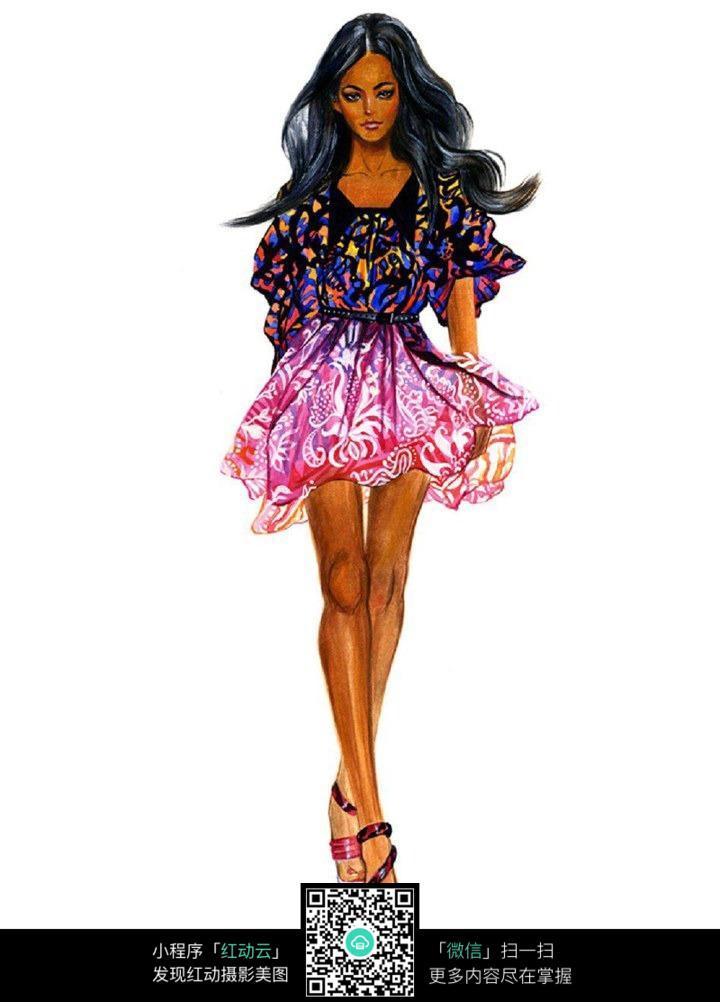卡通美女服装设计手绘效果图