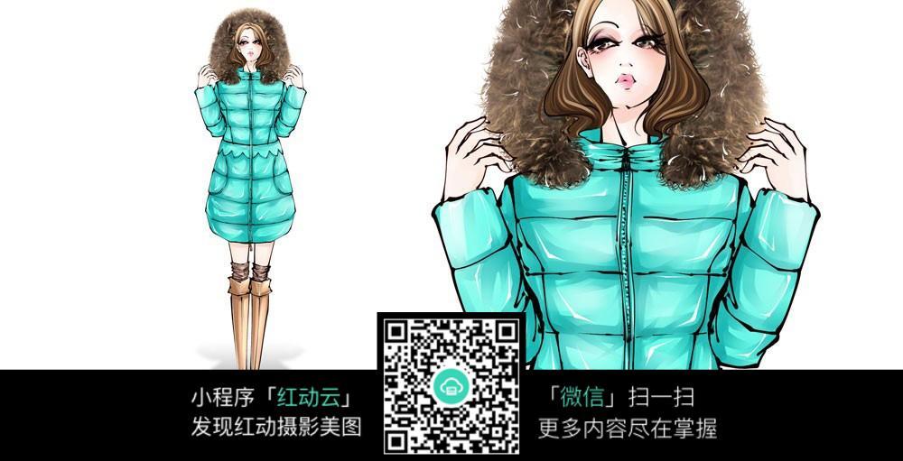 蓝绿色冬季外套设计稿图片