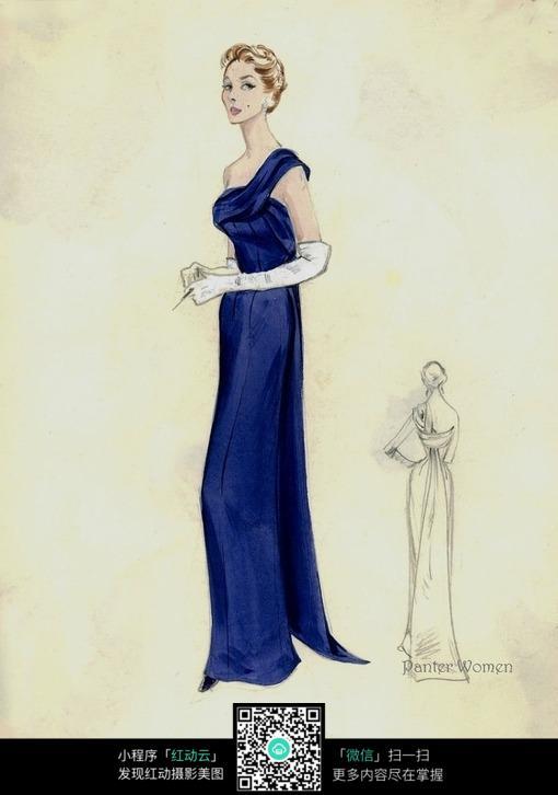 蓝色时尚服装设计手绘效果图图片