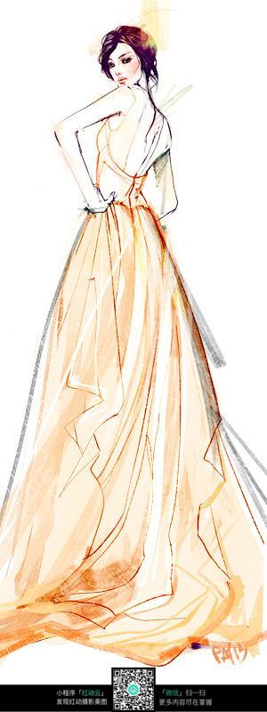连衣裙时装设计手绘图片