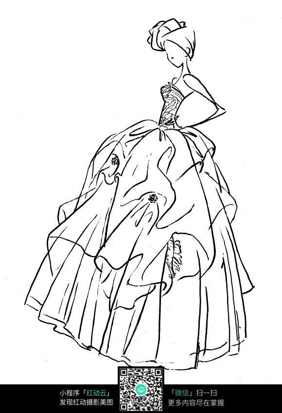 头饰 抹胸长裙