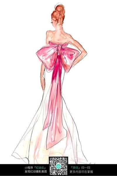 抹胸长裙服装设计手绘效果图