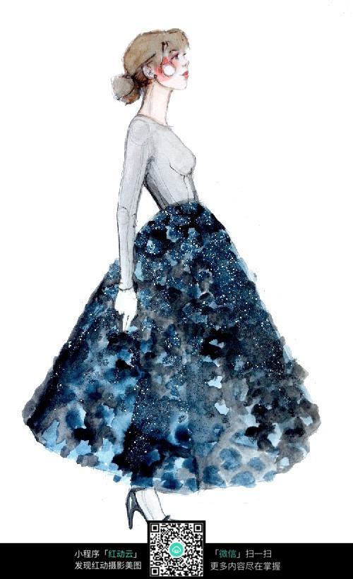 裙子时装设计手绘图片