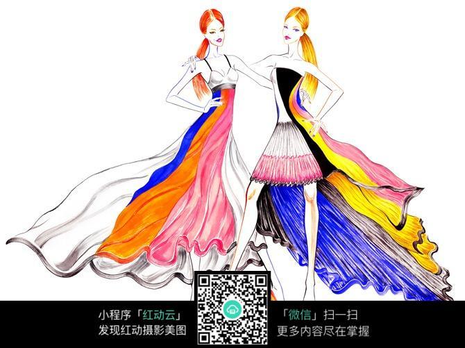 时尚炫彩长裙服装设计手稿图