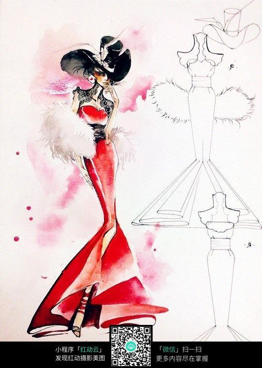 时尚炫彩服装设计手绘图图片