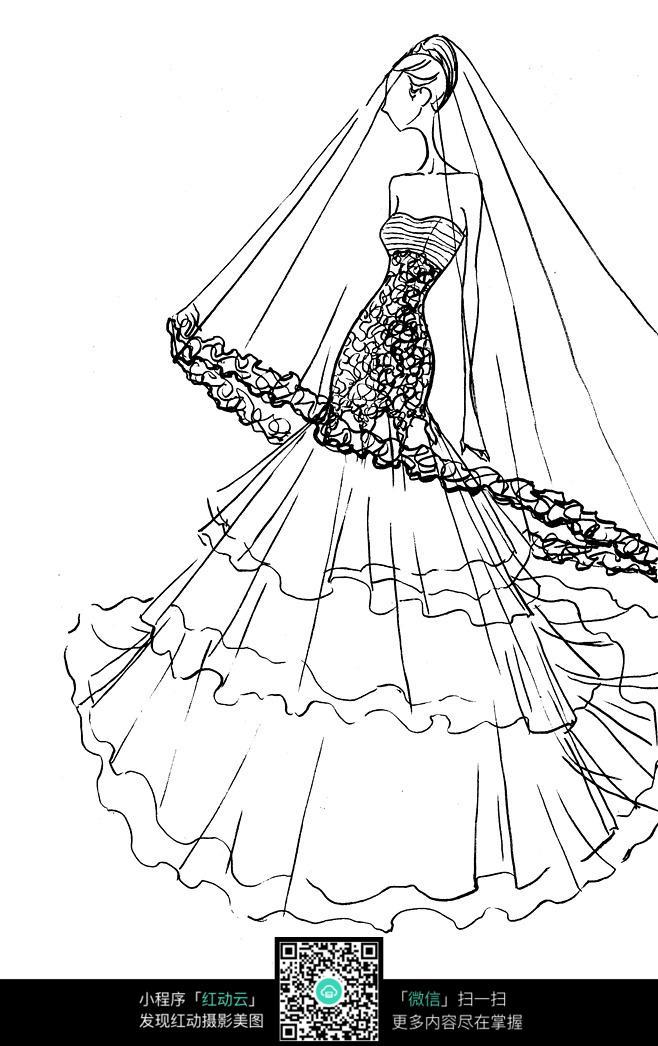 时尚婚纱手绘线稿