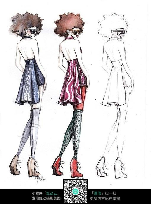 免费素材 图片素材 漫画插画 其他 时尚女人的背影回眸