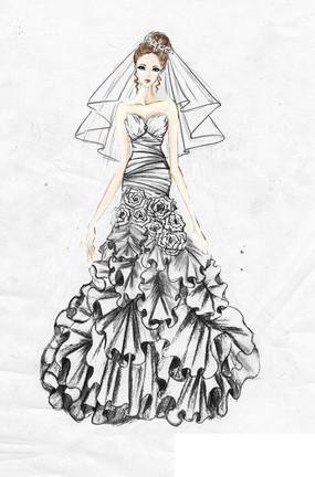 婚纱手绘设计图 女生