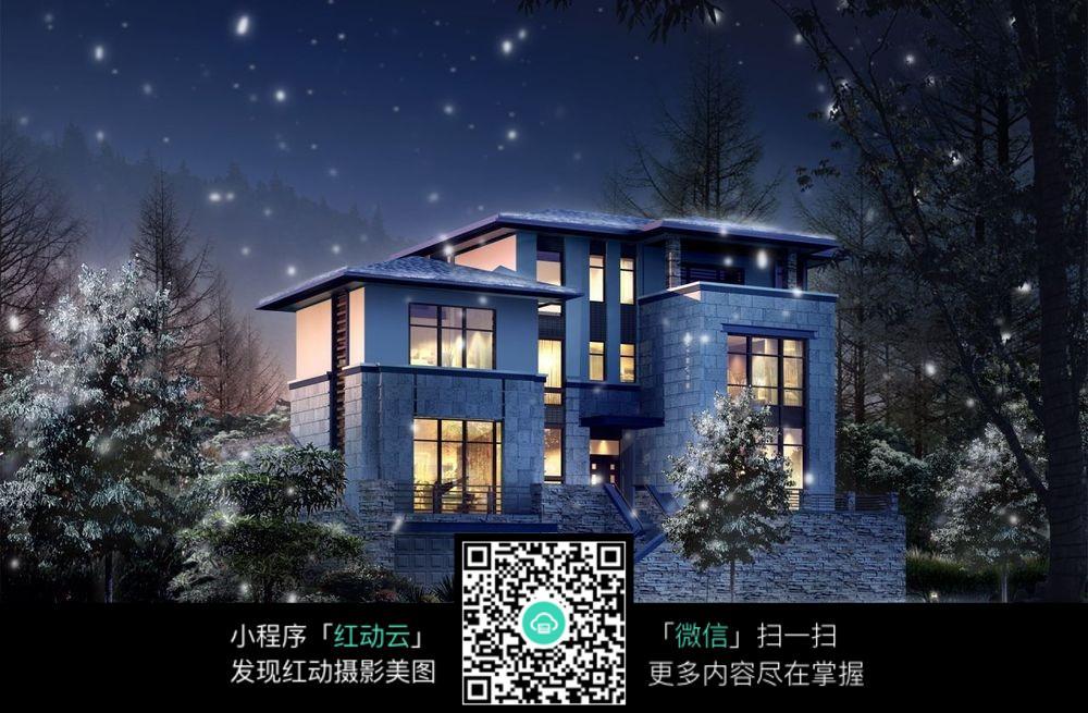 雪夜下的別墅美景