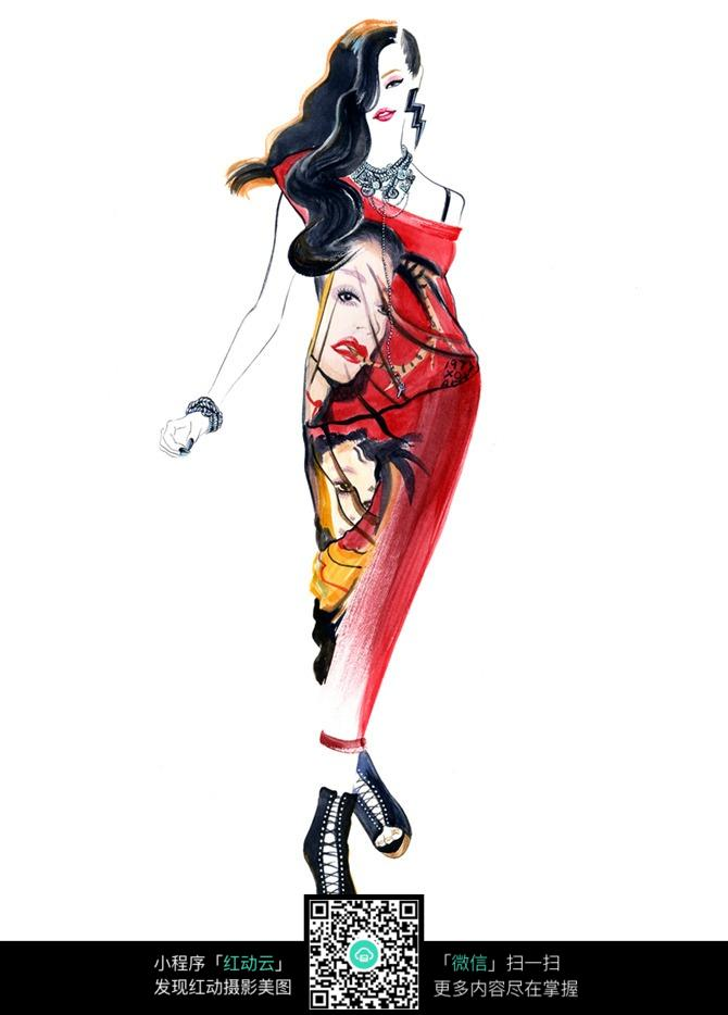 创意红色连衣裙服装手绘效果图