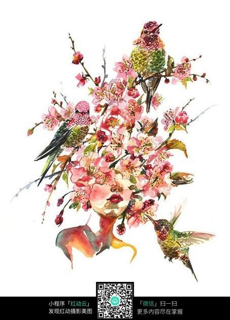 绘制鲜花 美女手绘 创意鲜花美女 jpg