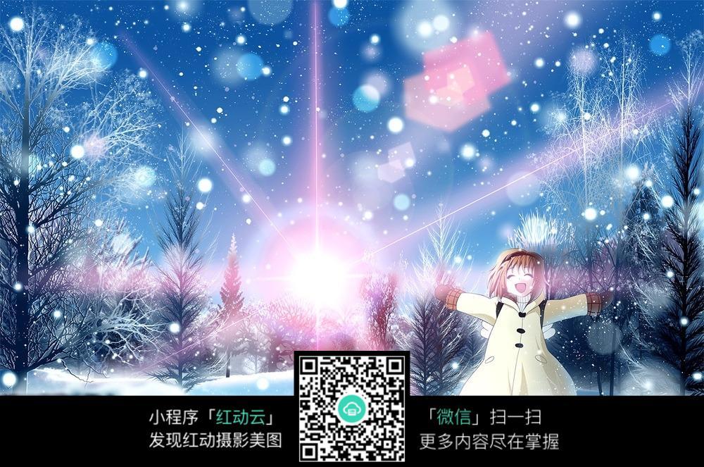 冬日雪景动漫图片