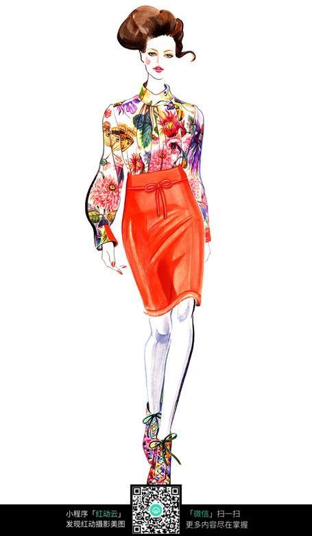 服装设计手绘稿模特
